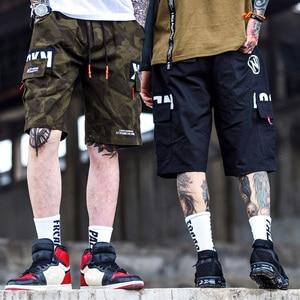 Image 3 - 2020 Hip Hop Hàng Hóa NGẮN CAMO Nam Harajuku Ngắn Quần Jogger Dạo Phố Tatical Quân Sự Cổ Túi Bên Ngắn Ngụy Trang Hipster