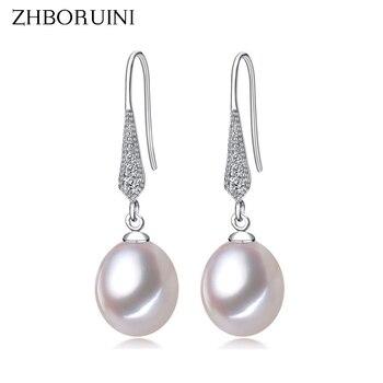 цена на ZHBORUINI 2019 Fashion Pearl Earrings Natural Freshwater Pearl Jewelry Dorp Earring 925 Sterling Silver Jewelry For Women Gift