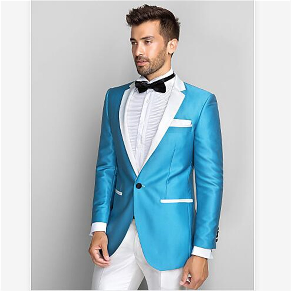 New Men's Suit Smolking Noivo Terno Slim Fit Easculino Evening Suits For Men Blue Blazer White Lapel Groom TuxedosProm Dinner