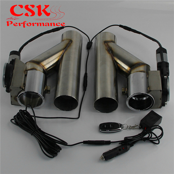 """3"""" 76mm Dual Electric Exhaust Cutout Cutoff Downpipe Dump Bypass Valve Kit Wireless Controller / Switch Control"""
