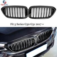 G30 1 slat Carbon Fiber Gloss Black Grill Mesh For BMW 5 Series G30 G31 2017 + 520i 530i 540i Front Hood Kidney Grille
