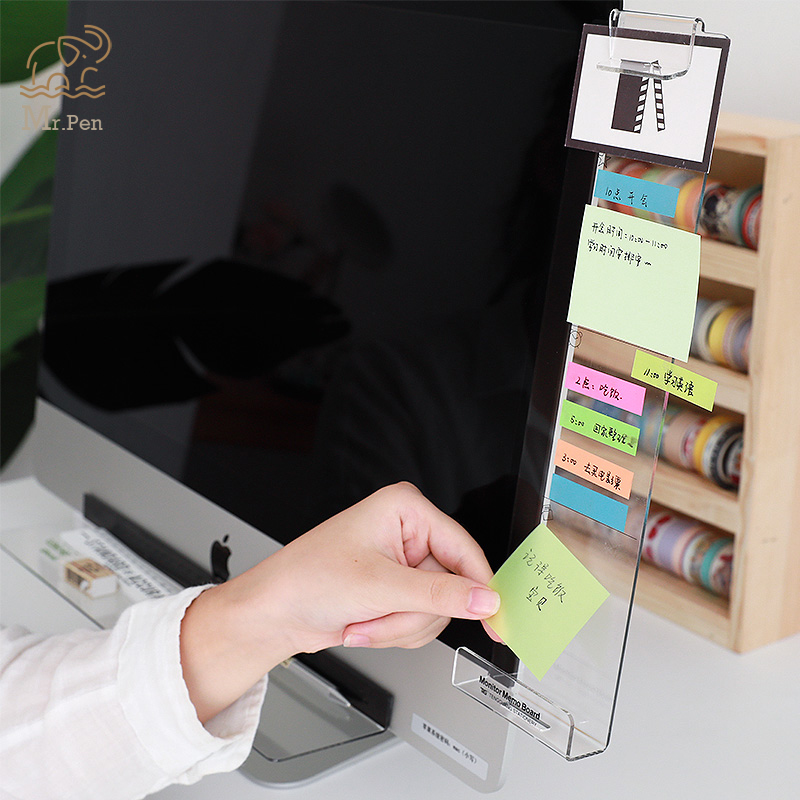 Creative Acrylic Monitor Message Memo Board For Sticky Note Transparent Name Card Phone Holder Desktop Plastic Holder Stationery