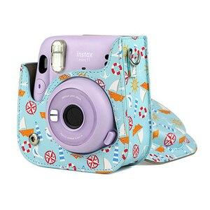 Image 5 - Futerał ochronny na aparat na ramię kolorowe wzory skórzana torba na aparat do Fujifilm Instax Polaroid Mini11 Mini 11 etui na torebki