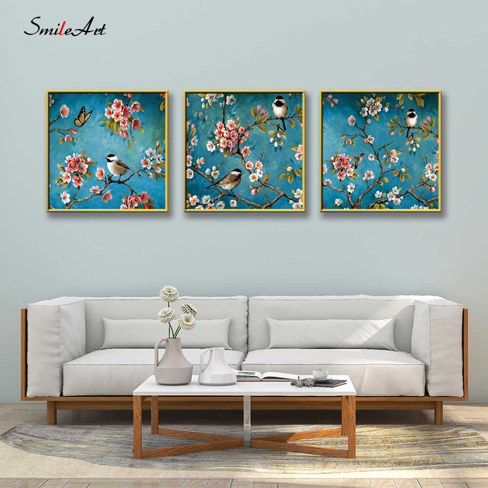 Colored Drawing Birds On Branches Art Canvas Wall Pictures Wall Pictures For Living Room Pictures On The Wall Home Decor cuadros
