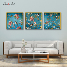 Colored Drawing Birds On Branches Art Canvas Wall Pictures For Living Room The Home Decor cuadros