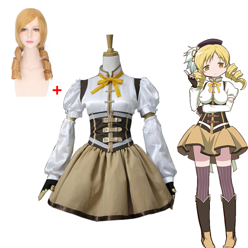 2019 Puella Magi Madoka Magica Tomoe Mami Cosplay Costume Full Set Socks Include Wig Halloween Party Costume