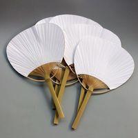 20 stücke Reinem weiß bambus griff blank kalligraphie malerei leere gruppe fan fan fan weißen fan-in Dekorative Lüfter aus Heim und Garten bei