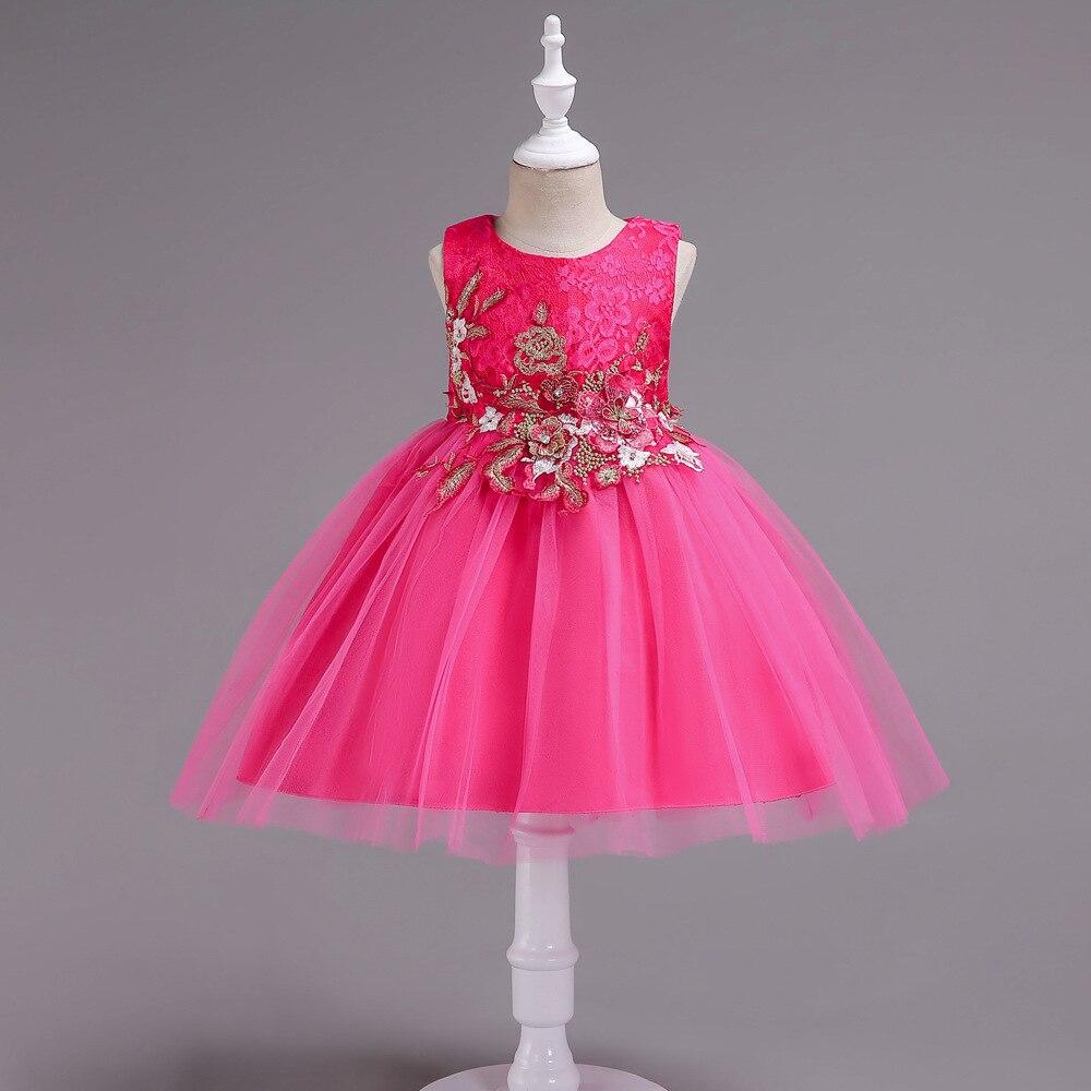 Children Dress Children Shirt Girls Dress Children Stereo Embroidery Flower Lace Puffy Princess Host Performance Dress