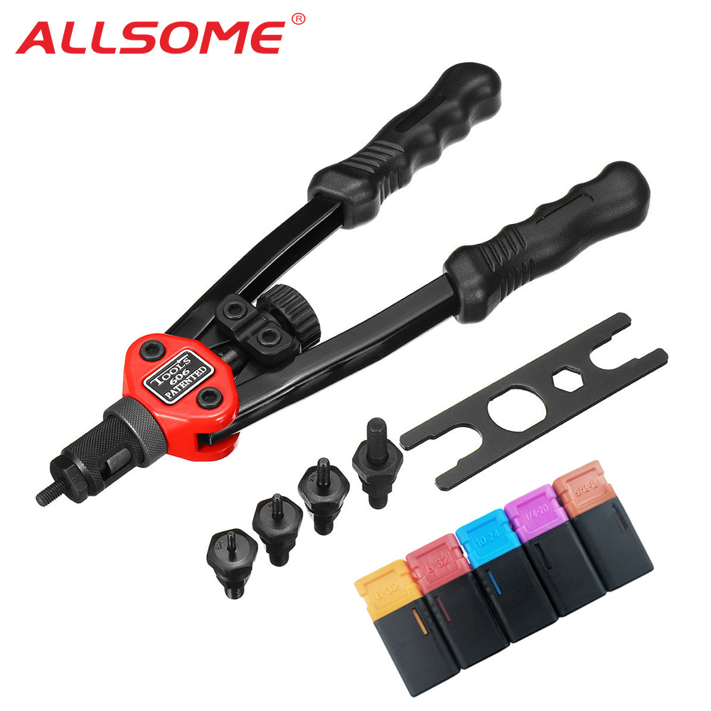 ALLSOME BT-606 Riveter Gun Tool Hand Insert Rivet Nut Tool Manual Mandrels 6-32 8-32 10-24 1/4-20 HT2596