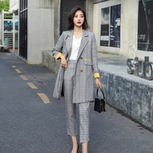 Chic costume Autumn Double Breasted Office Ladies Plaid Long Blazer suits
