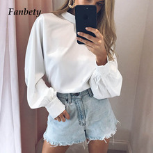 Fanbety Office Lady Lantern Sleeve Chiffon Blouse Women Autu