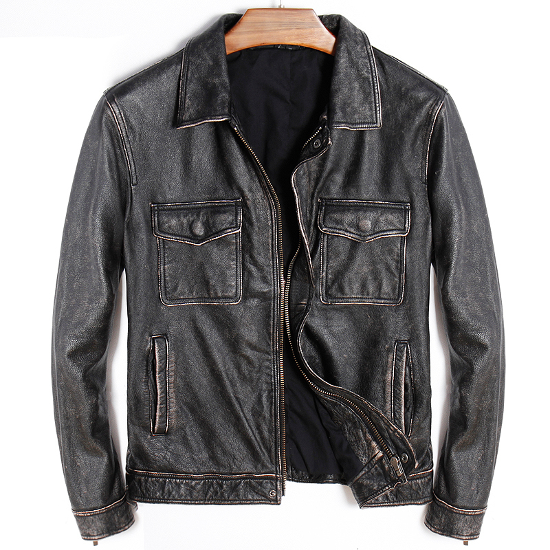 Factory 2020 New Vintage Gray Motorcycle Leather Jacket Men Casual Cowhide Slim Fit Riding Jackets Bieker Jacket