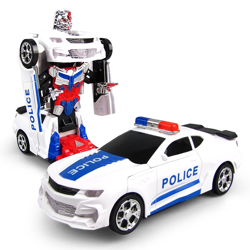 Cool Deformation Lighting Music Electronic Police Robot Cars Early Educational Toys For Baby Boys Kids Gift