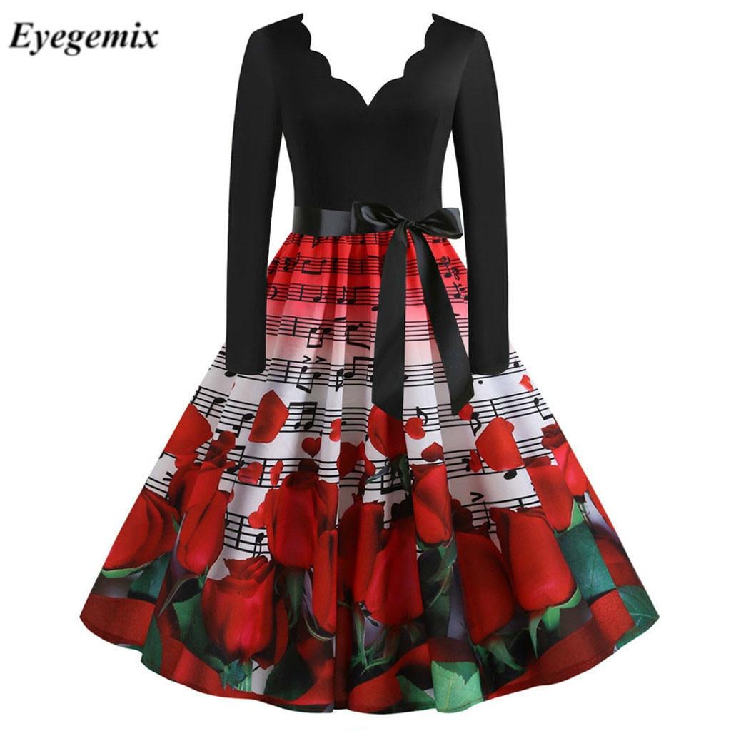 S ~ 3XL seksowna czarna sukienka na imprezę nuta drukuj dekolt w serek kobiety z długim rękawem zima w stylu Vintage sukienka Rockabilly walentynki Plus rozmiar
