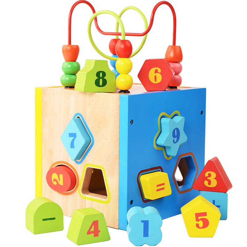 Wooden Children'S Educational Early Childhood Bead-stringing Toy Building Blocks Stereo Geometric Shapes Wooden Toys Bead-string