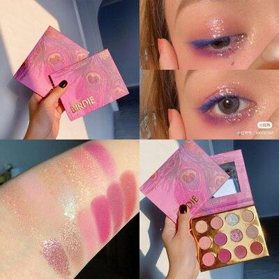 Pink And Purple 12 Colors Glitter Eyeshadow Palette Matte Shimmer Eye Shadow Palette Waterproof Makeup