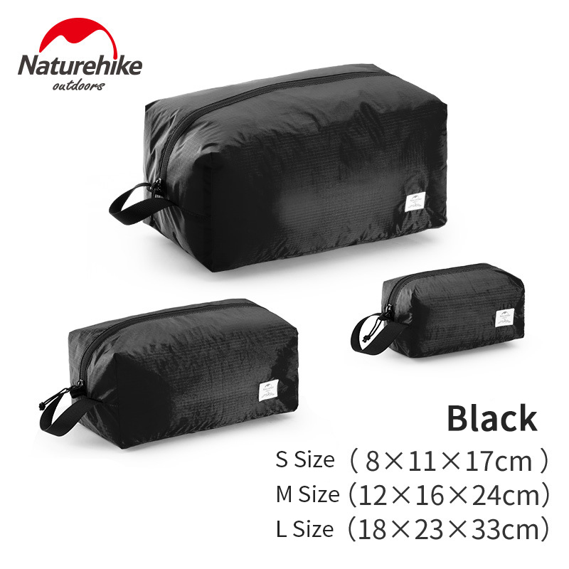 Naturehike 3 Pcs Travel Storage Bag Clothes Bag Foldable Pouch Travel Multi-function Waterproof Baggage Sorting Bag Black Gray B