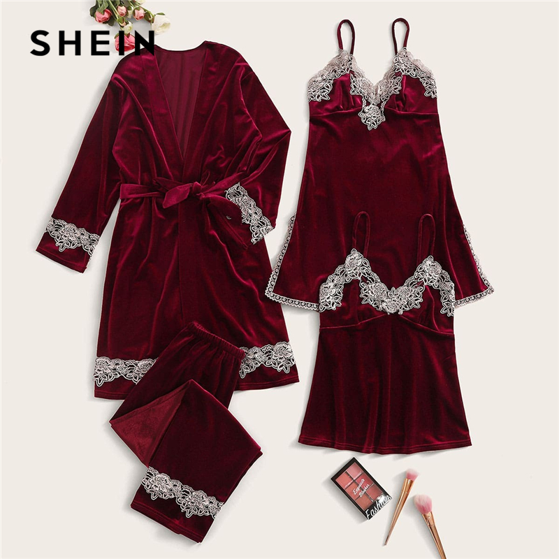 SHEIN Solid Contrast Lace Velvet Cami Nightdress With PJ Set And Belted Robe Women Sleepwear Spring Stretchy Casual Nightwear
