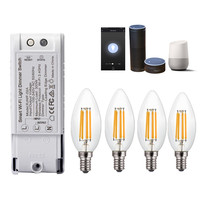 4PCS AC220V E14 4W Dimmable COB LED Candle Light Bulb Smart WiFi Dimmer Light Switch Work With Amazon Alexa