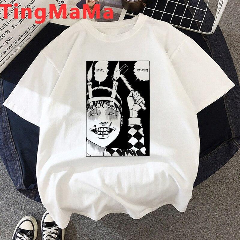 Horror t-shirt femme Junji Ito Manga streetwear graphic tees mulheres grunge do tumblr plus size verão top camiseta plus size kawaii