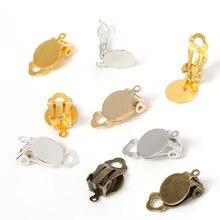 50pcs Ouro Prata Clipe de Ouvido Brincos Base de Configuração Em Branco Ajuste 10mm Vidro Cabochão DIY Componentes Achados de Jóias fazendo