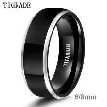 цена Tigrade Men Ring Black Luxury Wedding Band Pure Titanium Polished for Women Lover Rings Couple Engagement Jewelry Size 4-Size 14 онлайн в 2017 году