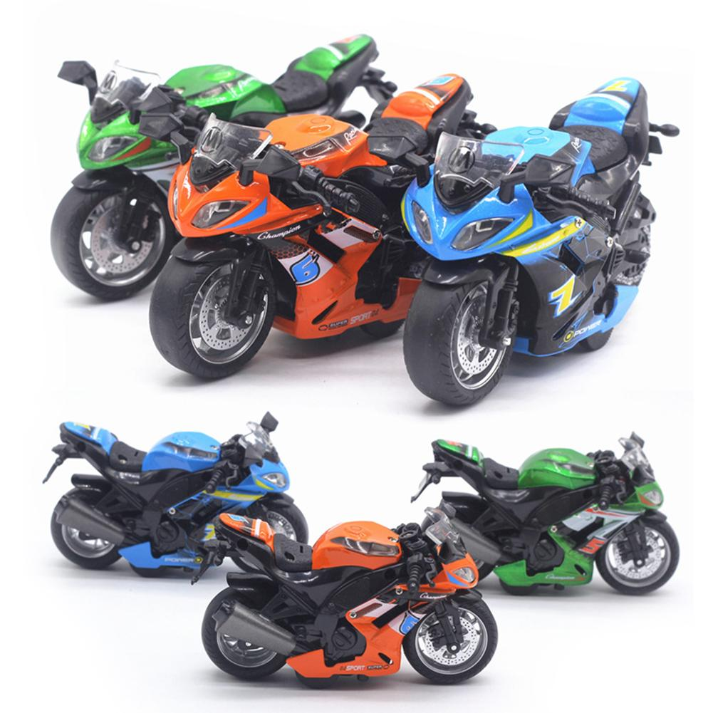 Free Drop Shipping 1/14 Simulation Motorcycle Pull Back Model Motorcycle With LED Music Learning Kids Toy Gift For Children Kid