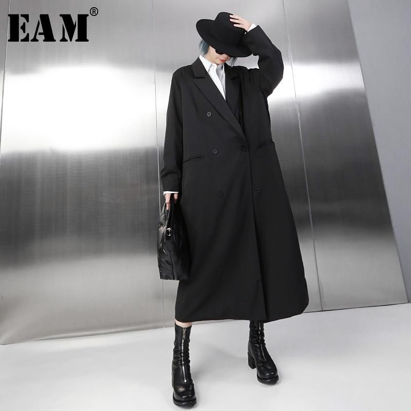 [EAM]2019 New Spring Stand Collar Long Sleeve Brief Loose Long Waist Drawstring Windbreaker Women Coat Fashion Tide JH336