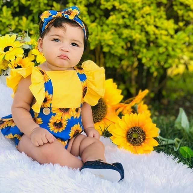 Pudcoco Floral Bodysuit For Newborn Infant Baby Girl Sunflower Short Sleeve Jumpsuit Clothes 2PCS Summer Outfit