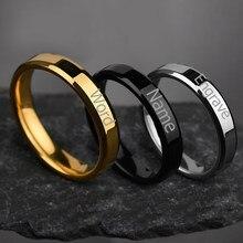 Alta qualidade 4mm gravar nome anel para as mulheres homens de aço inoxidável personalizado palavras anel de promessa lvers presente transporte da gota