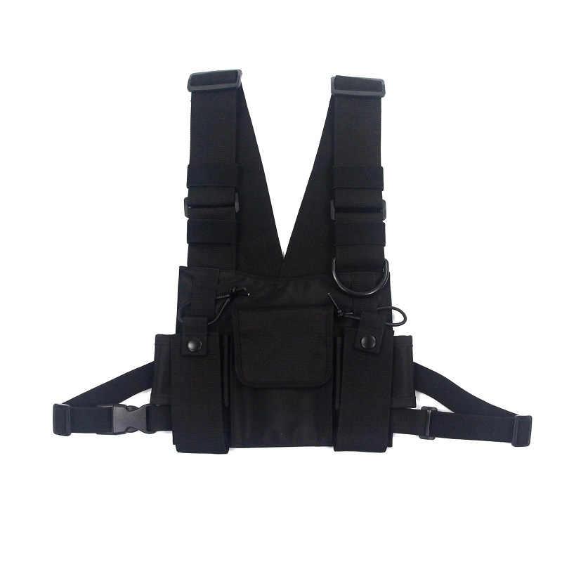 Mężczyźni taktyczne torby na ramię skrzynia Rig torba hiphopowy sweter mężczyźni funkcjonalne talii pakiety regulowane kieszenie kamizelka Kanye West
