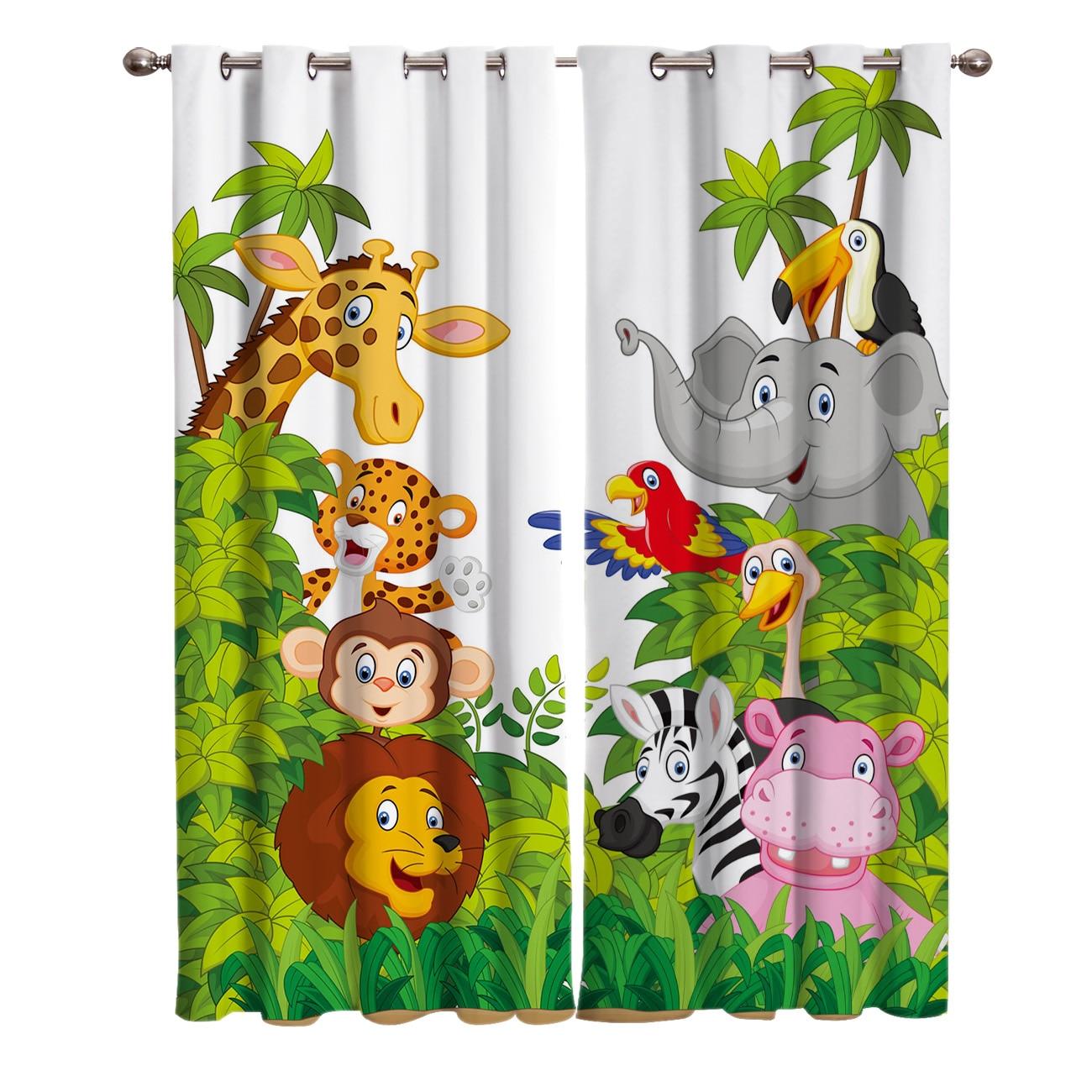 Занавески джунгли с животными из мультфильмов, жираф, Лев, Детские занавески для гостиной, спальни, украшение для дома, занавески на окна для...