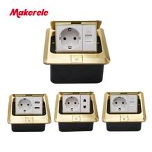 купить Floor Socket EU Standard square shape Pop Up Outlet Box with rj45 net/phone/USB connector Copper alloy panel Makerele онлайн