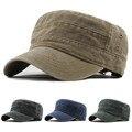 Классическая винтажная мужская шапка унисекс с плоским верхом, регулируемая Плотная джинсовая однотонная шапка, военные плоские шапки, Пря...