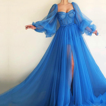 Dubai Evening Dresses 2019 A-line Sweetheart Long Sleeves Tulle Islamic Saudi Arabic Blue Gown Prom Party Dress - discount item  45% OFF Special Occasion Dresses