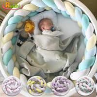 Ruizhi 2 м красочная детская кровать бампер коса узел Подушка для новорожденных защита Детская Кроватка Забор кроватка Детская комната Декор ...