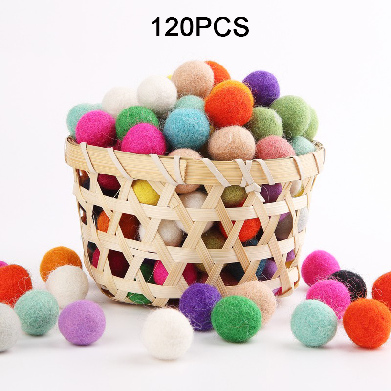 100PCS 20mm 100% Wool Felt Balls DIY Balls Hanging Accessories Candy Color Pom Pom Ball For Kids Party Crafts Children's Toys