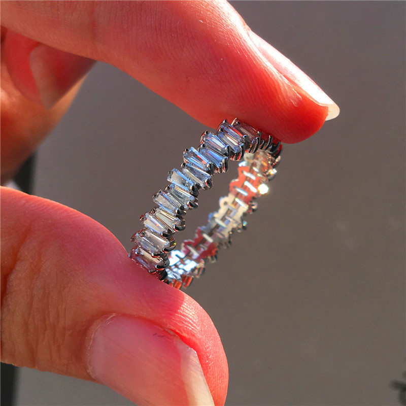 Luxury Female Small Natural Diamond Stone Ring 100% Real 925 Sterling Silver Engagement Ring Vintage Wedding Rings For Women