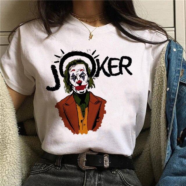 2019 Funny Joker T-shirt Women Summer Cartoon Printed Tops New White Casual Homme T Shirt Unisex Streetwear Short Sleeve