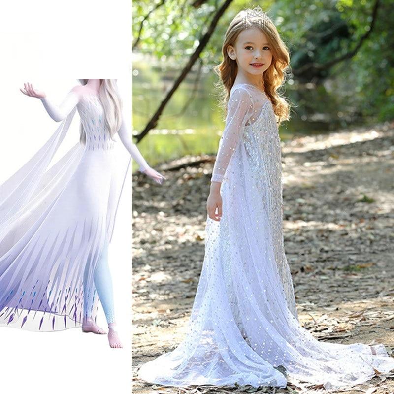 Snow Queen 2 Fancy Princess Elsa Dress Up Christmas Carnival White Girls Elsa Anna Costume Kids Sequins Wedding Dresses Vestidos