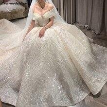 Abiti da sposa di lusso 2020 Off spalla allacciata abito da ballo scintillante africano abito da sposa Do Mariee Vestido De Noiva