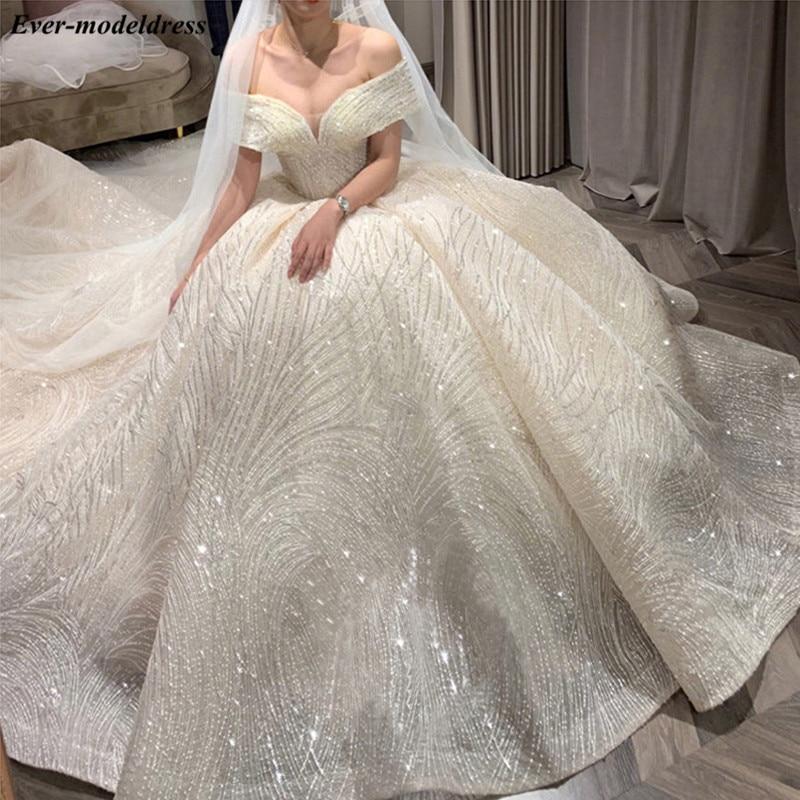 Luxury Wedding Dresses 2020 Off Shoulder Lace Up Back Sparkly Ball Gown Wedding Gown Bride Dress Robe De Mariee Vestido De Noiva