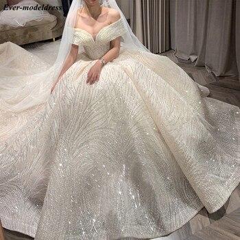 Роскошные свадебные платья, кружевное платье с открытыми плечами, со шнуровкой, блестящее бальное платье для невесты 2020