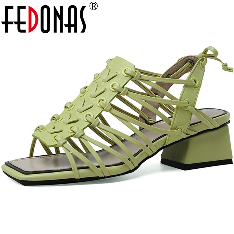 FEDONAS 2020 Cross Tied Famale Sandals Thick Heels Pumps Casual Party Ladies Shoes Genuine Leather Peep Toe Newest Shoes Woman