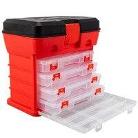 Caja de plástico de 4 capas para pesca, herramientas de almacenamiento de piezas de tornillo, Señuelos de Pesca, accesorios, caja de herramientas