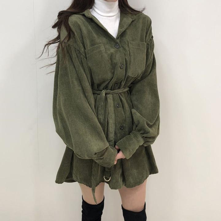 H9fb44d6080ed422b85b36e1eb5ebdcbfj - Autumn / Winter Turn-Down Collar Long Sleeves Corduroy Solid Mini Dress