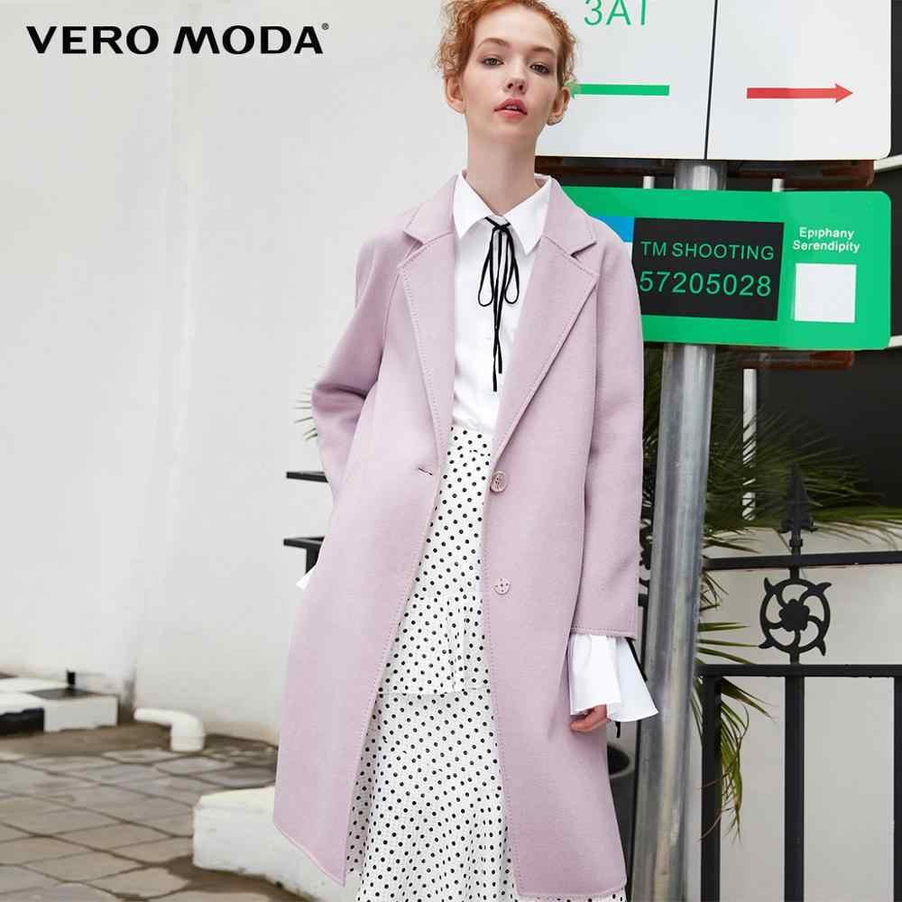 Vero Moda frauen neue 100% wolle doppel-seitig einzigen schnalle minimalistischen woolen mantel | 318327505
