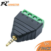 Plug Screw-Terminal R-Connector Stereo-Jack Balun Male 4-Pole Video 1pc AV