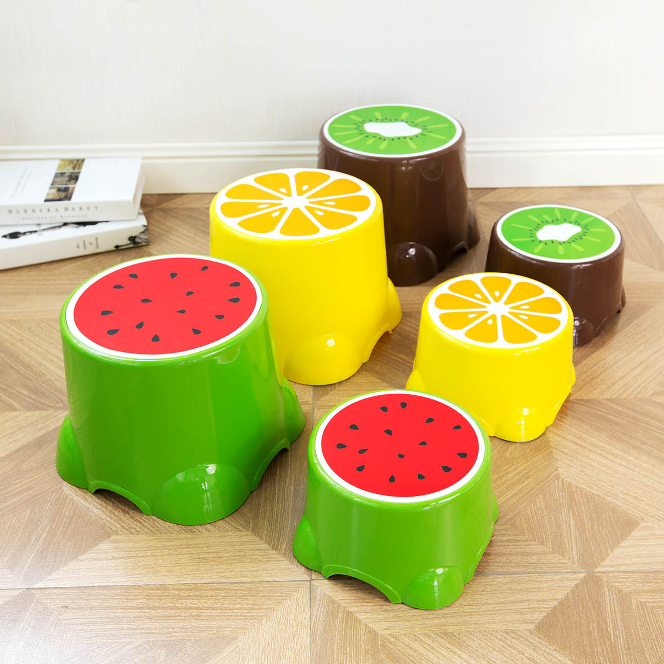Cute Fruit Pattern Plastic Step Stool Non-slip Round Bath Bench Children Stools Changing Shoes Stool Baby Kids Furnitur Home