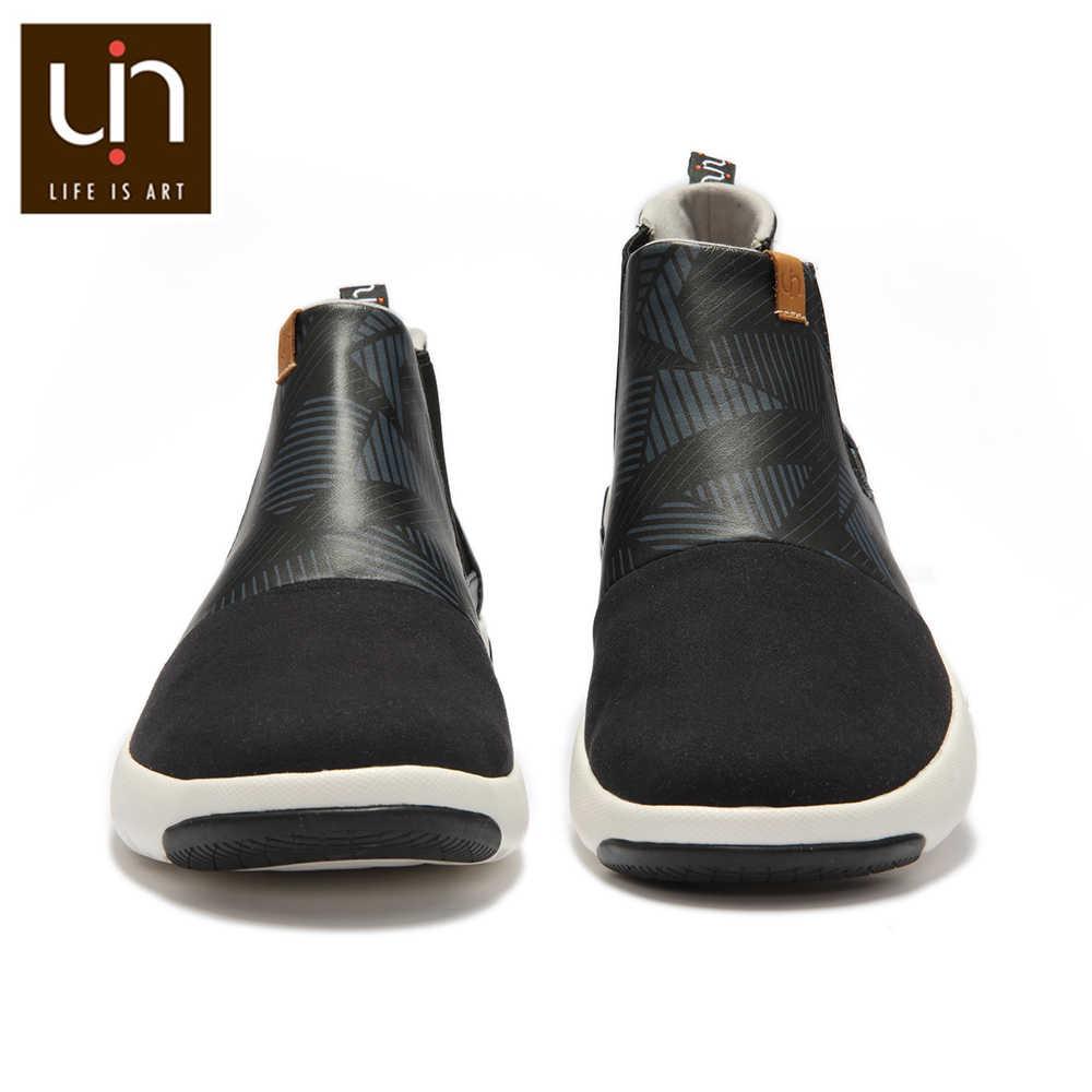 UIN Dr Ken Serisi Siyah yarım çizmeler Kadınlar/Erkekler Rahat düz çizmeler Mikrofiber Süet Deri Açık Ayakkabı Kış/Sonbahar